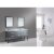 """Design Element London 72"""" Double Sink Vanity Set with (2) Wall Mirrors in Gray and White Carrera Marble Top, 72"""" W x 22"""" D x 34"""" H"""