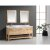 """Design Element London 72"""" Double Sink Vanity Set with (2) Wall Mirrors in Oak and White Carrera Marble Top, 72"""" W x 22"""" D x 36"""" H"""