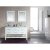 "Design Element London 61"" Double Sink Vanity Set with (2) Wall Mirrors in White, Open Bottom and White Carrera Marble Top, 61"" W x 22"" D x 36"" H"