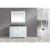 "White 48"" Gray Quartz Top Vanity Set w/ Wall Mirror"