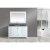 "White 54"" Gray Quartz Top Vanity Set w/ Wall Mirror"