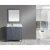 "Gray 36"" White Carrera Top Vanity Set w/ Wall Mirror"