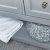"""36"""" Gray Vanity w/ Top & Sink Open Shelf View"""