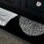 """48"""" Black Vanity w/ Top & Sinks Open Shelf View"""