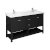 "60"" Black Vanity w/ Top & Sinks Product Angle View"