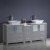 "72"" Gray Double Sink Vanity Cabinets w/ Tops & Vessel Sinks"