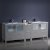 "84"" Gray Double Sink Vanity Cabinets w/ Integrated Sinks"