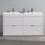 "Fresca Valencia 60"" Glossy White Free Standing Double Sink Modern Bathroom Vanity, Vanity Base: 60"" W x 19"" D x 34"" H, Sink: 19-11/16"" W x 12-5/16"" D x 4-4/5"" H"