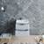 """24"""" Glossy Gray Cabinet with Sink Drawers Open"""