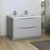Glossy Gray Double Cabinet with Sinks Side View
