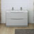 Glossy Gray Double Cabinet with Sinks Front View