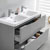 Glossy Gray Double Cabinet with Sinks Drawers Open Close Up