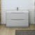 Glossy Gray Single Cabinet with Sink Front View