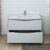 Glossy Gray Single Cabinet with Sink Drawers Open
