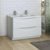 Glossy White Double Cabinet with Sinks Side View