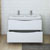 Glossy White Double Cabinet with Sinks Drawers Open
