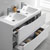 Glossy White Double Cabinet with Sinks Close Up
