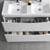 Glossy White Double Cabinet with Sinks Drawers Open Close Up