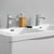 Glossy White Double Cabinet with Sinks Top