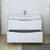 Glossy White Single Cabinet with Sink Drawers Open