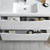 Glossy White Single Cabinet with Sink Drawers Open Close Up
