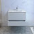 "36"" Glossy White Cabinet with Sink Drawers Open"