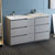 "60"" Gray Partitioned Cabinet with Sink Side View"