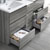 "60"" Glossy Ash Gray Partitioned Cabinet with Sink Bottom Drawer"