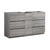 "60"" Glossy Ash Gray Partitioned Cabinet Only Side View"