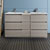 "60"" Gray Wood Partitioned Cabinet with Sink Front View"