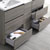 "60"" Gray Wood Partitioned Cabinet with Sink Bottom Drawer"
