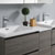 "60"" Gray Wood Partitioned Cabinet with Sink Edge Close Up"