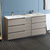 "72"" Gray Wood Partitioned Cabinet with Sink Side View"