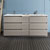 "72"" Gray Wood Partitioned Cabinet with Sink Front View"