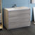 Glossy Ash Gray Single Cabinet with Sink Side View