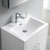 "24"" Glossy White Cabinet with Sink Overhead View"