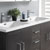 Dark Gray Oak Double Cabinet with Sinks Close Up
