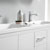 Glossy White Double Cabinet with Sinks Edge