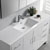 Glossy White Single Cabinet with Sink Overhead View