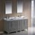 "60"" Gray Double Sink Vanity Set with Mirror"