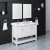 "Fresca Manchester 48"" White Traditional Double Sink Bathroom Vanity Set w/ Mirrors, Vanity: 48"" W x 20-2/5"" D x 34-4/5"" H"