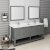 "Fresca Manchester Regal 72"" Gray Wood Veneer Traditional Double Sink Bathroom Vanity Set w/ Mirrors, Vanity: 72"" W x 20-2/5"" D x 34-4/5"" H"