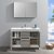"""48"""" Ash Gray Single Sink Opened Front View"""