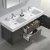 """60"""" Gray Oak Double Sink Overhead Opened View"""