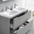 Glossy Gray Double Full Vanity Set Drawers Open Close Up