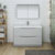 Glossy Gray Single Full Vanity Set Front View