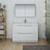 Glossy White Single Full Vanity Set Front View