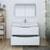 Glossy White Single Full Vanity Set Drawers Open