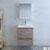 """24"""" Rustic Natural Wood Full Vanity Set Drawers Open"""