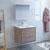 "30"" Rustic Natural Wood Full Vanity Set Side View"